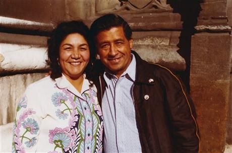 This 1974 photo provided by the Cesar Chavez Foundation shows, Cesar Chavez, right, and wife Helen Chavez, during a European tour promoting the grape boycott in London. Helen Chavez, widow of civil rights and labor leader Cesar Chavez, has died at age 88. A family statement released through the United Farm Workers says Helen Chavez died Monday, June 6, 2016, at a hospital in Bakersfield, Calif., surrounded by many of her children, grandchildren and great grandchildren. No cause of death was…