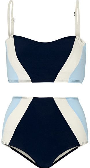 Flagpole Swim - Perry Color-block Bikini - Navy