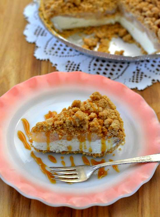 Get the recipe for an Easy Inside Out Apple Pie A La Mode made with 3 easy to find ingredients and a homemade crumb topping.