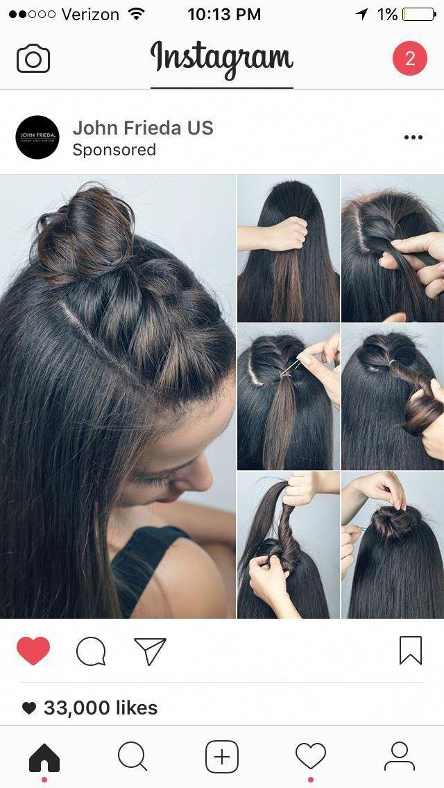 Braided half bun knot! (Topknot) #Diyhairstyles