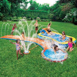 Banzai Aqua Drench 3-in-1 Inflatable Splash Park....I am thinking this is the winner....I hope it isn't crap.