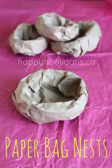 Paper Bag Nests - easy bird nest craft that kids can make from a paper bag.  Great for school projects, bird units, easter chick crafts etc.  Sure way recycle a paper bag too! - Happy Hooligans
