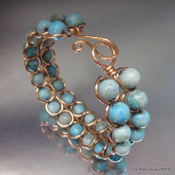 Artisan made wire looped, wire woven and beaded 16 gauge copper bangle which is created out of one piece of 7 feet with 32 semi precious gemstone black jade 6 mm round beads wrapped tightly around the
