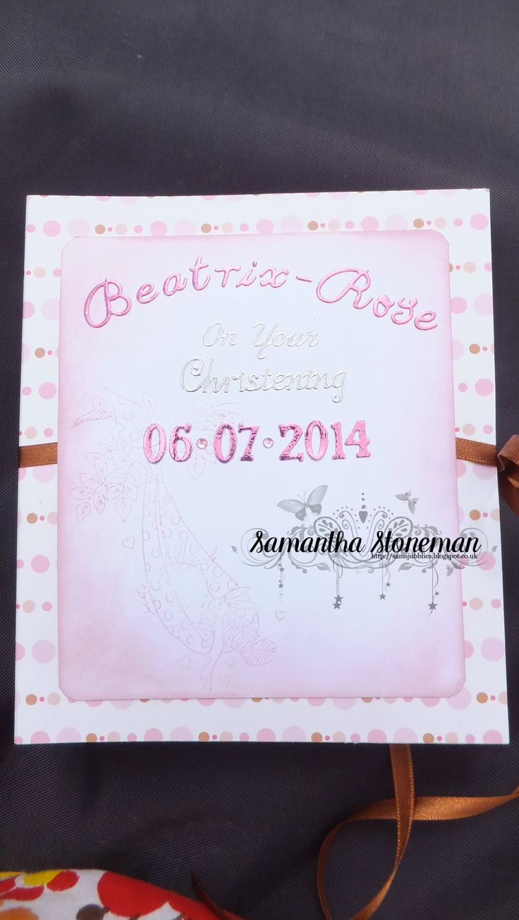 Christening card for a special little girl, Handmade by Samantha Stoneman