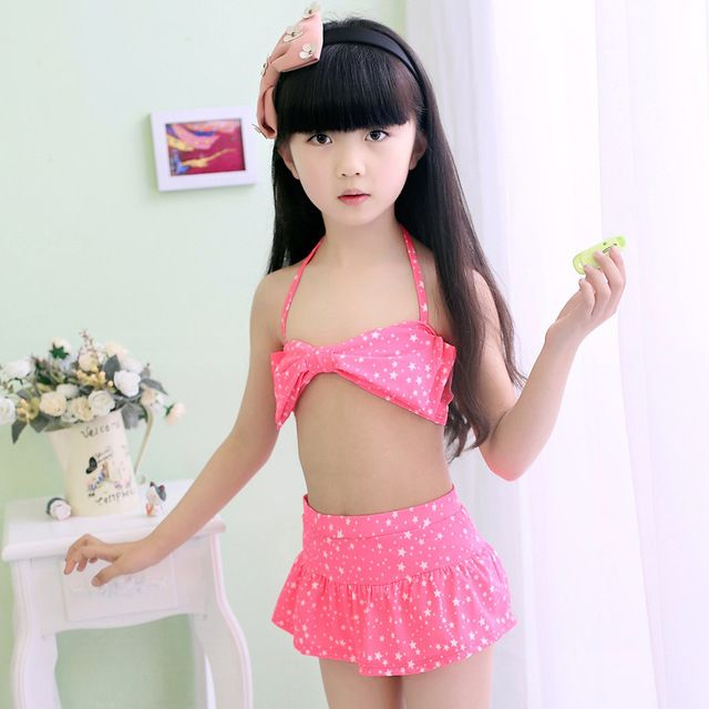 2016 New Summer 2 Pieces Skirt little Girls Swimsuit Toddler girls Swimming Wear Childrens Swimwear Bathing Suit Kids Bikini