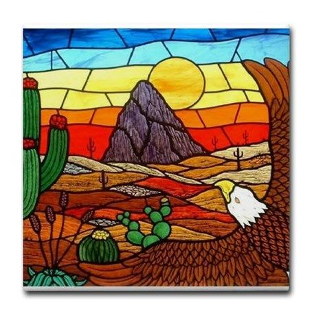 Southwestern Stained Glass Eagle Tile Coaster