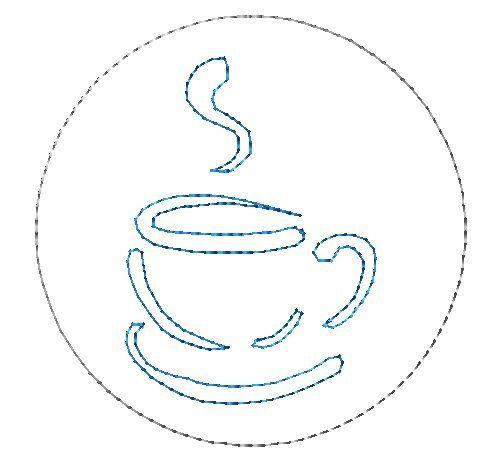 Disegno di ricamo 4x4 ITH Coaster tazza di caffè di BeeStitchin