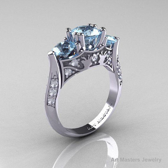 14K White Gold Three Stone Aquamarine Diamond Solitaire