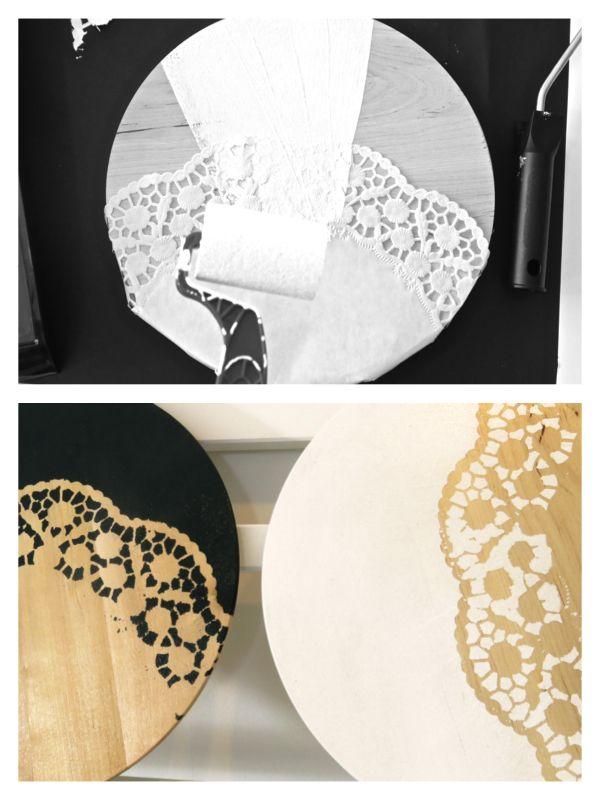 Topfuntersetzer im Spitzenkleid – DIY – 107qm-schwarz auf weiß
