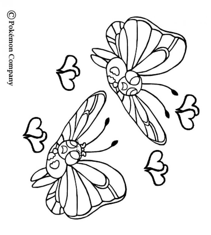 Butterfree Pokemon Coloring More Bug Sheets On Hellokids