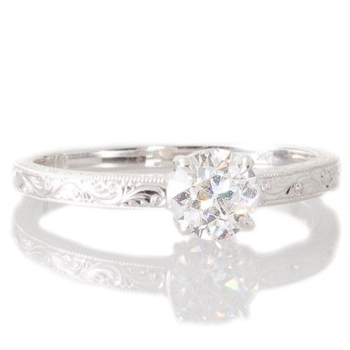 An 18ct white gold solitaire diamond engagement ring, made by Single Stone LA. View our collection of antique, Art Deco, and modern jewellery at www.rutherford.com.au