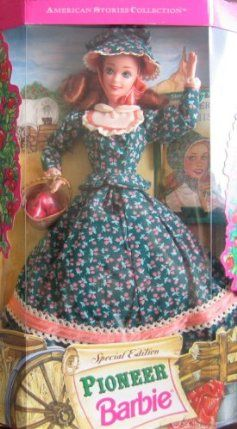 Pioneer Barbie Doll Special Edition: American Stories Collection (1994) by Mattel. $21.95. Contains: doll, pioneer-style print dress, bonnet, shoes, hairbrush, basket of apples, doll stand & book. Read about her adventures as an early settler in the included book.