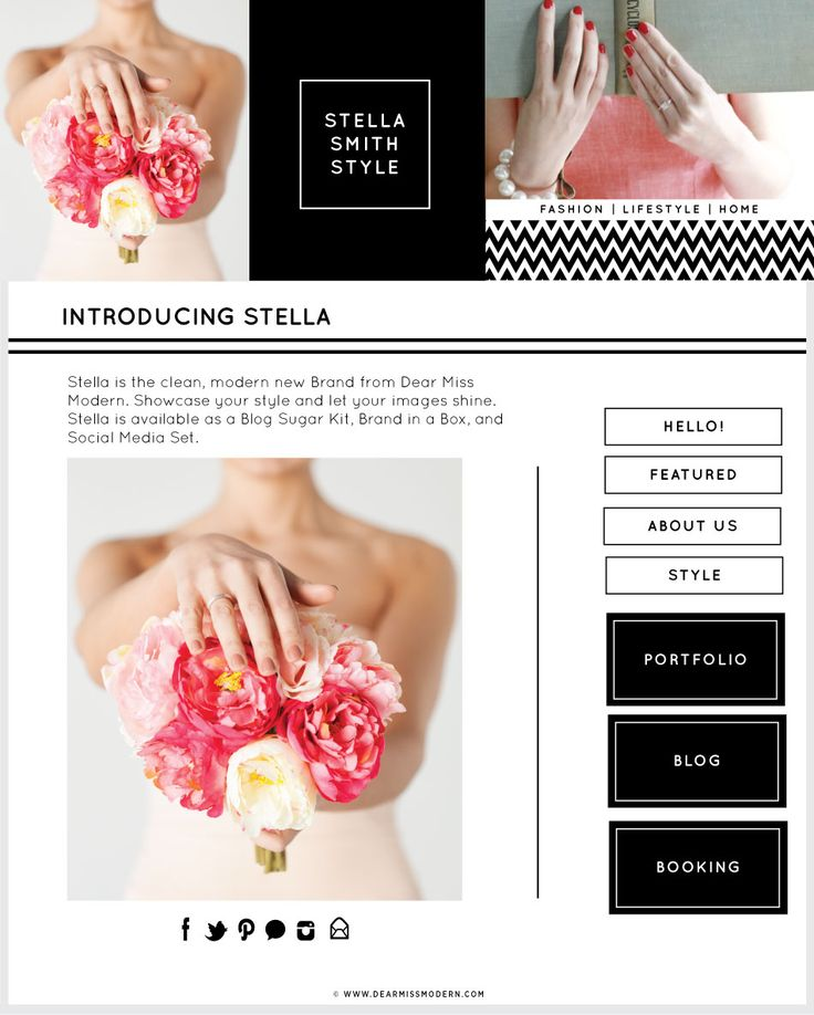 Stella is the clean, modern new Brand from Dear Miss Modern. Showcase your  style