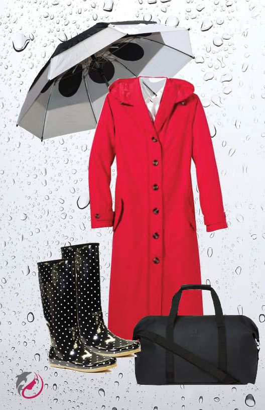 """When it rains.  Travel Smith lightweight raincoat -long to protect all of you, weighs 21 oz, folds into its own pouch, comes out wrinkle-free.  GustBuster Metro 43"""" foldup umbrella, hardened steel ribs make it strong. Chooka Boots, waterproof, 14"""", ightweight, fold up into own pouch. Rains travel bag, water resistant, waterproof zippers, roomy."""