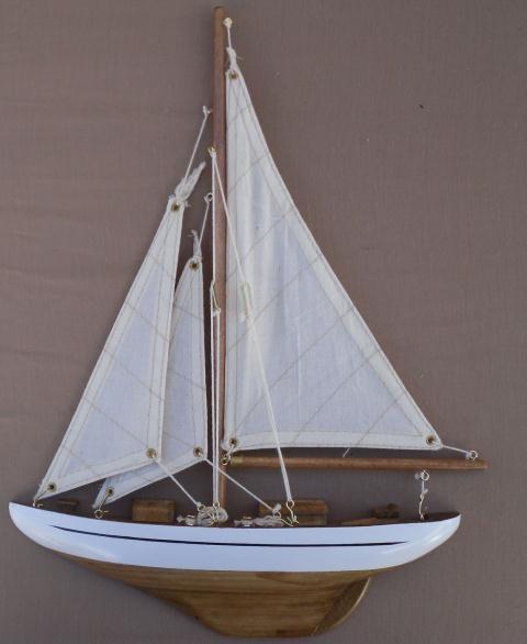 Wood Sailboat Wall Decor : Wooden half hull wall sailboat h l