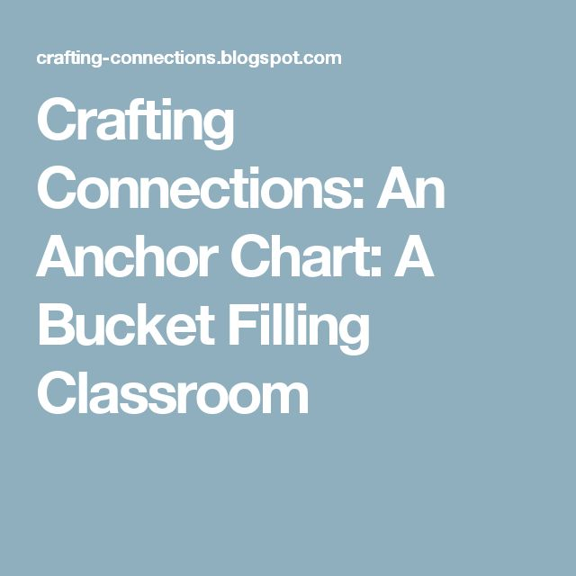 Crafting Connections: An Anchor Chart: A Bucket Filling Classroom