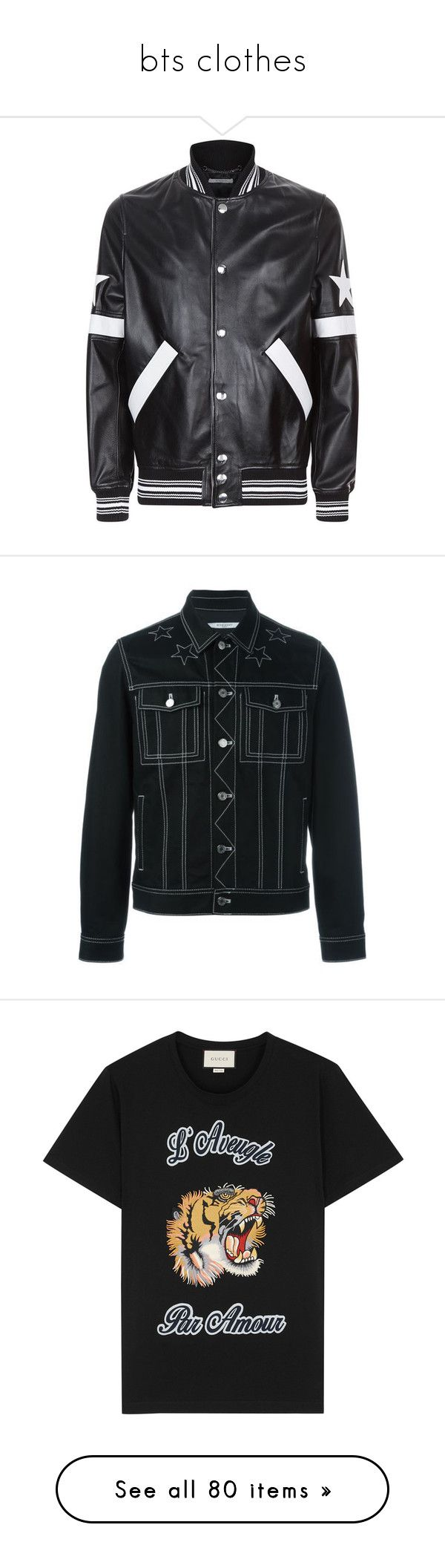 """""""bts clothes"""" by night-circus ❤ liked on Polyvore featuring men's fashion, men's clothing, men's outerwear, men's jackets, givenchy mens jacket, mens leather bomber jacket, g star mens jacket, mens leather jackets, mens leather flight jacket and givenchy"""