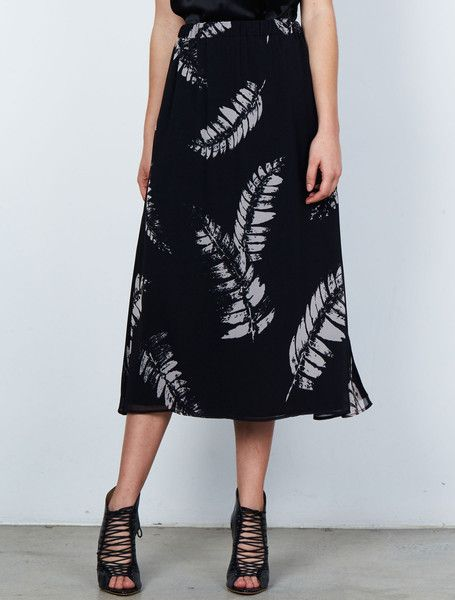 ISLA MINERAL PRINT SKIRT from the Stardust Collection. Effortless dressing made easy, with this sheer and chic, free-flowing A-line midi skirt in our abstract fern print. Fully lined, with an elastic waistband, simply slips on. Available: www.islalabel.com #islalabel #fashion #style #winter #skirt #midiskirt #printed #fern #chic