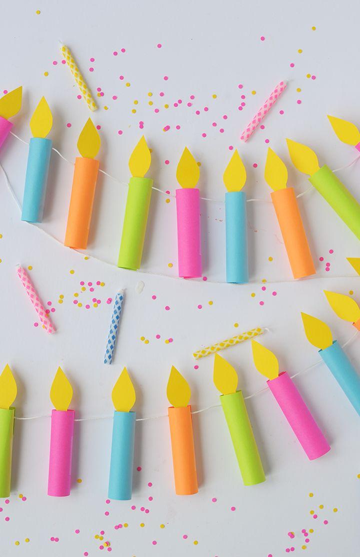 DIY birthday candle garland | Una guirnalda de velas de pastel de papel