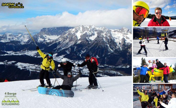 Opstappen bij de Reiteralm en dan via Pichl, Rohrmoos en Schladming helemaal doorskiën naar Haus im Ennstal. Een echte skisafari. Lange pistes en gezellige berghutjes.