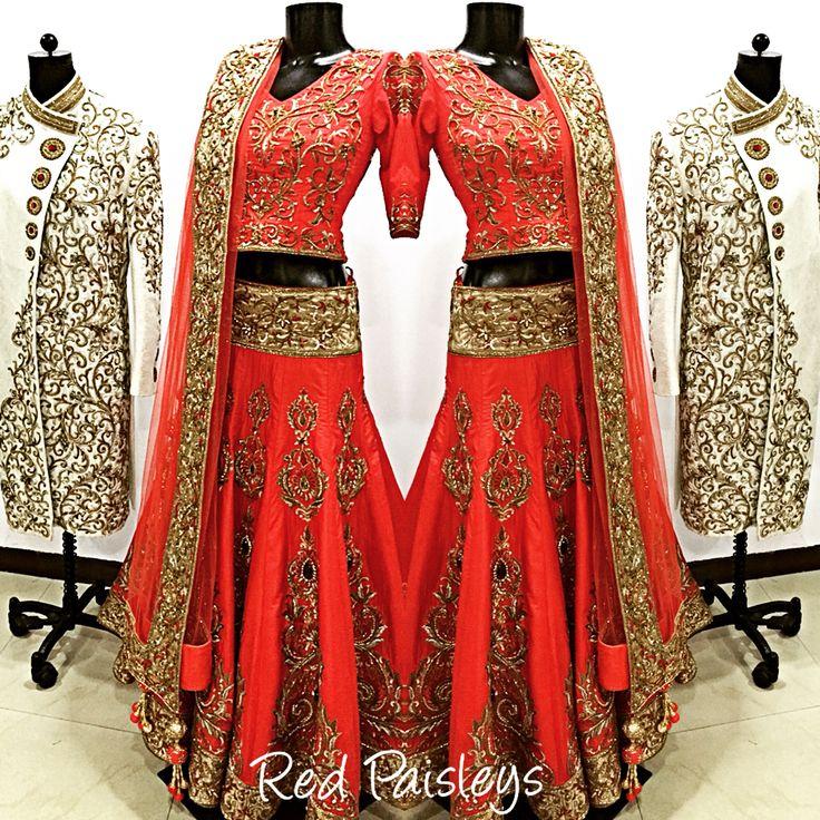 Red lehenga ivory Sherwani by @Red Paisleys