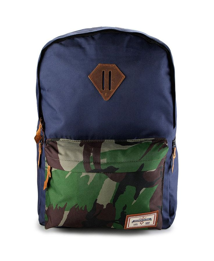 Joey Backpack by MAGNUM RELOAD, Backpack with navy color and a ouch of a camouflage pattern on the pocket, this unique backpack has a spacious compartment, and inner mesh pocket for you daily essentials, so you easily find your thing, this bag made from polyester, zipper closure, perfect for school or short holiday. http://www.zocko.com/z/JGgqG