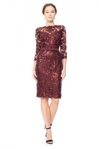 ALT1224M sukienka wizytowa bordowa #mididress #cocktaildress