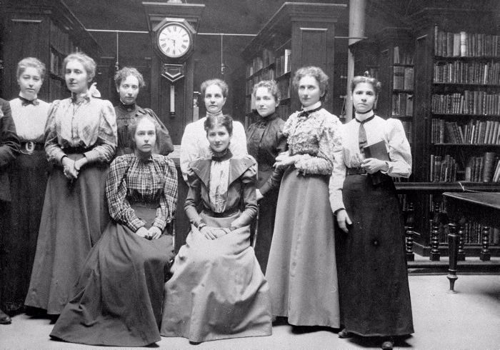 """Staff at the Toronto Mechanics' Institute (Church and Adelaide) in 1895. Originally the York Mechanics' Institute, it opened in the 1830 """"for the mutual improvement of its members in useful scientific knowledge... A library of reference and circulation will be formed."""" Many years later, it became the Toronto Public Library. Standing L to R: Eva Davis, Rose Ferguson, Elizabeth Moir, Hattie Pettit, Margaret McElderry, Margaret Graham, Frances Staton. Seated, L to R: Teresa O'Connor, Mina…"""