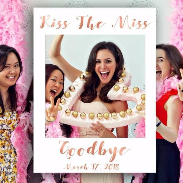 Rose Gold Kiss The Miss Goodbye Photo Booth Bridal Pinterest