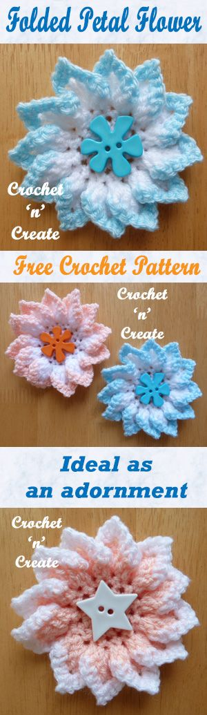 Pretty folded petal flowers, add them to your projects. #crochet