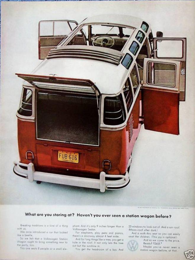 Volkswagen Bus Station Wagon Doors Open Staring At (1962)