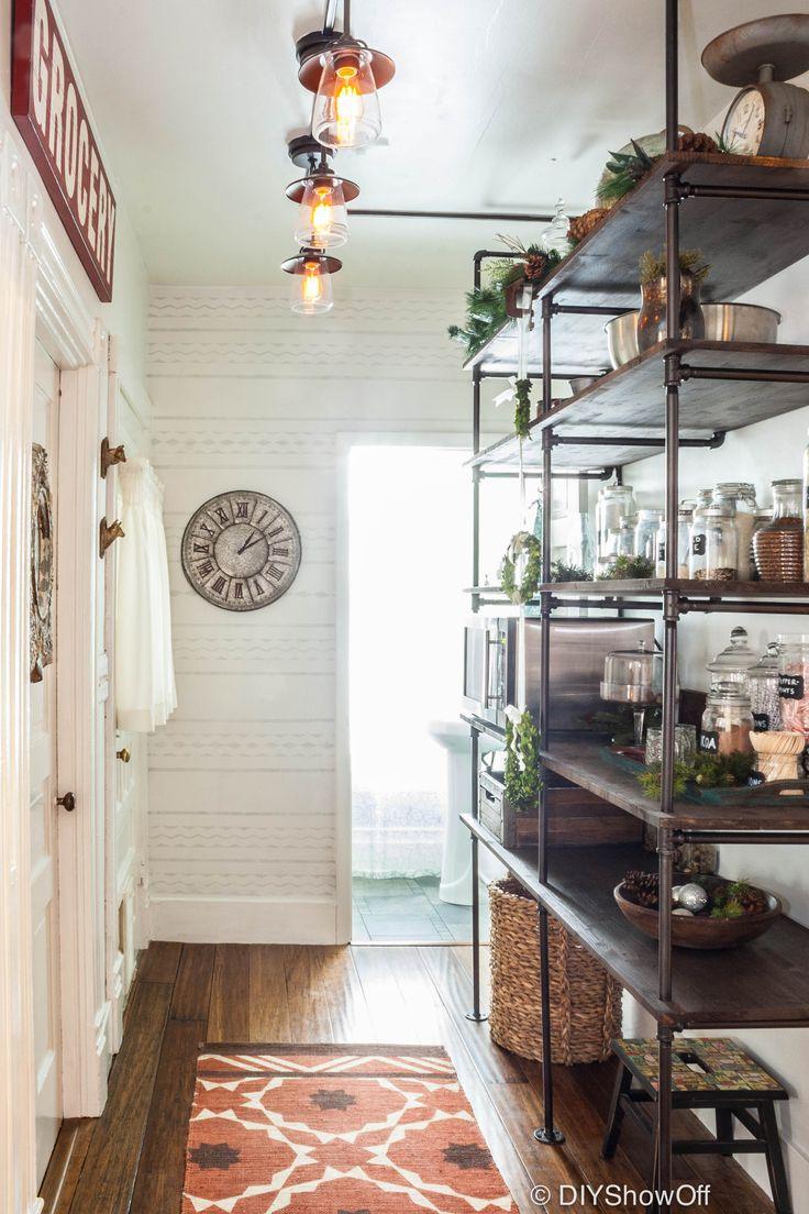 DIY pantry pipe shelves.