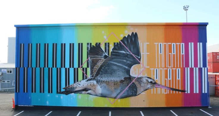 Mural addressing New Zealand endangered sea birds by Charles and Janine Williams.