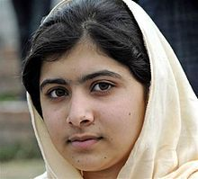 Malala Yousafzai (12/7/1997-) is a student, education & women's rights activist in the Swat Valley, Pakistan. At age 11, she blogged under a pseudonym detailing her life under Taliban rule & her views on education for girls. She has chaired the District Child Assembly Swat, been nominated for the International Children's Peace Prize & won Pakistan's 1st National Youth Peace Prize. On 9/10/12 she was shot in an assassination attempt by Taliban gunmen while returning home on a school bus.