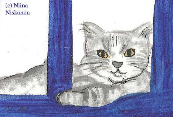 Cat from Santorini ACEO Original Watercolor Painting Cat ACEO Greek Cat Cat by the window Gray cat illustration Cat by Niina Niskanen