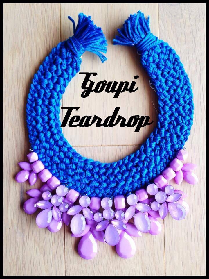 Teardrop necklace handmade statement necklace with light purple and purple beads plus vivid blue braids