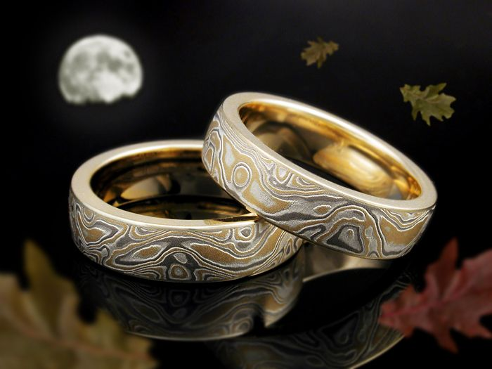 22 karat mokume gane wedding rings