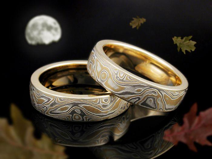 22 karat mokume gane wedding rings