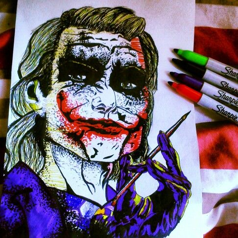 My joker drawing... the dark knight heath legder
