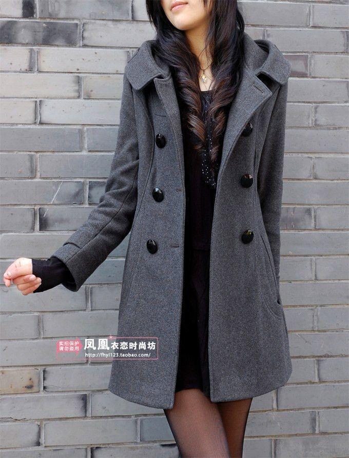 Trench Overcoat Coat Winter Woolen Blazer Ladies Size S-3XL Jacket Long Womens