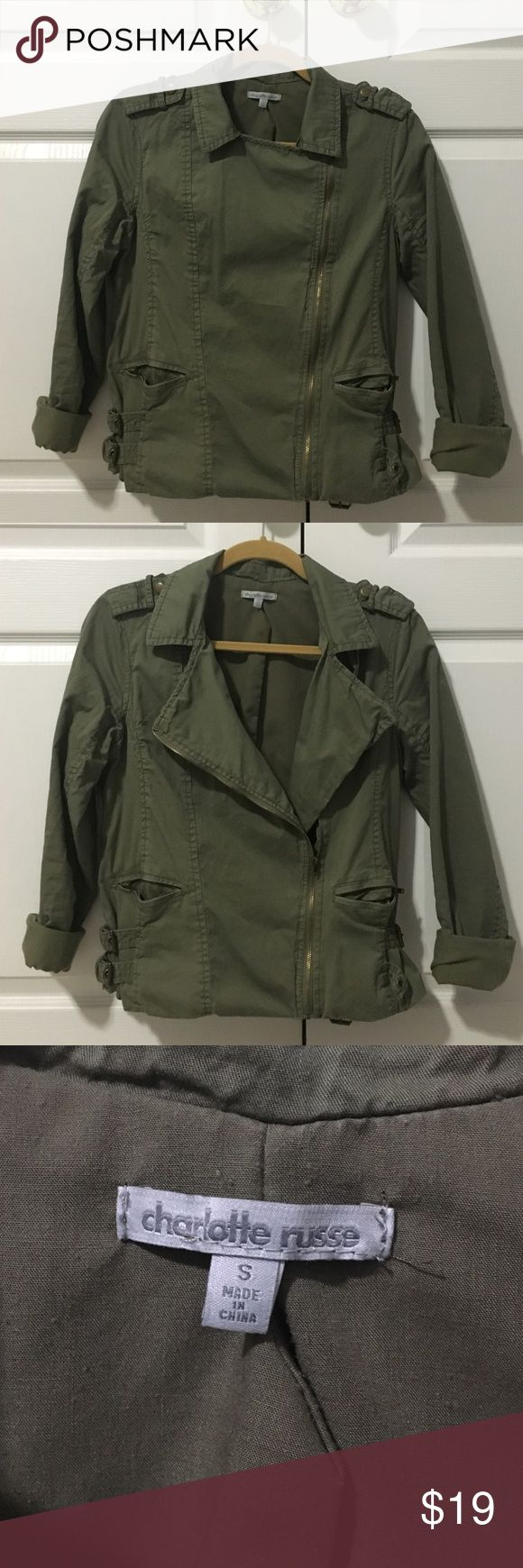 OLIVE GREEN jacket Only worn a few times, in pretty good condition. Size fits XS/S Charlotte Russe Jackets & Coats Utility Jackets