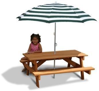 Gorilla Playsets 02-3003 Childrens Picnic Table & Umbrella