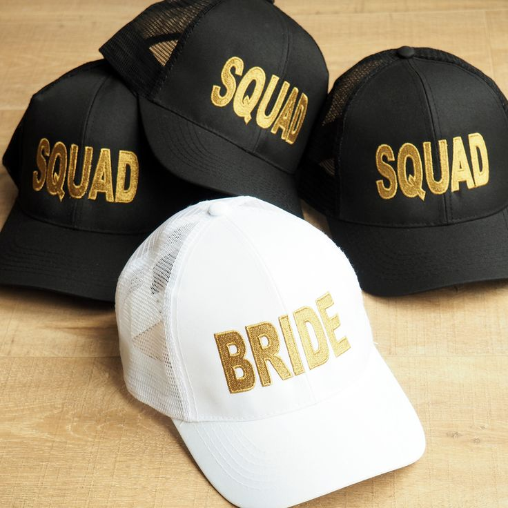 Achieve your #squadgoals with these gorgeous metallic gold embroidered BRIDE and SQUAD Baseball caps; perfect for the beach. Handmade in the UK. One size fits all.