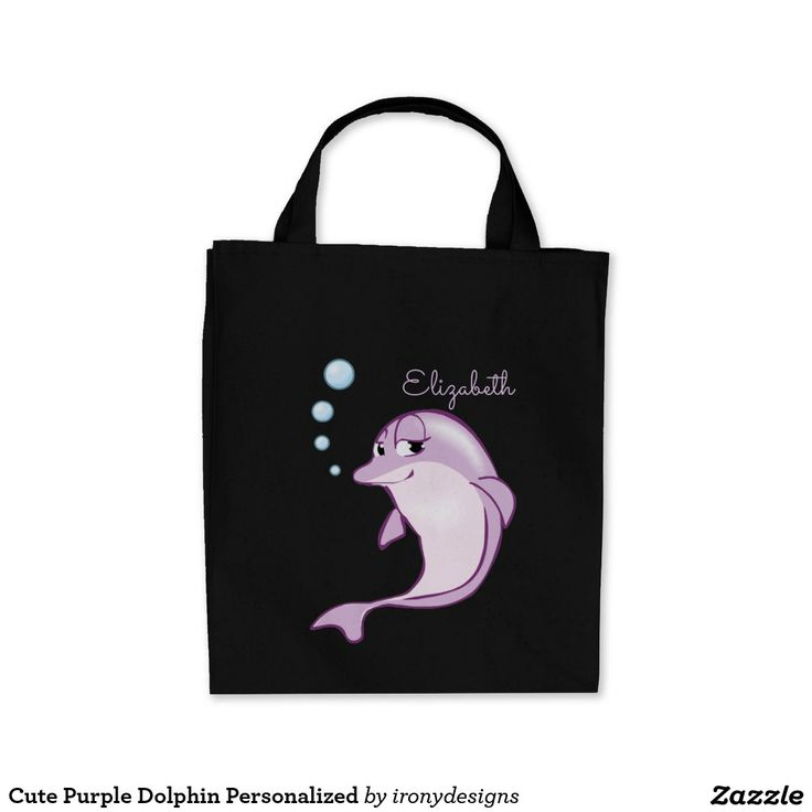 Cute Purple Dolphin Personalized Tote Bag