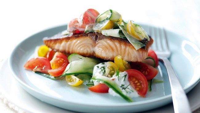 Pan Seared Salmon with Greek Yogurt Cucumber & Tomato Salad