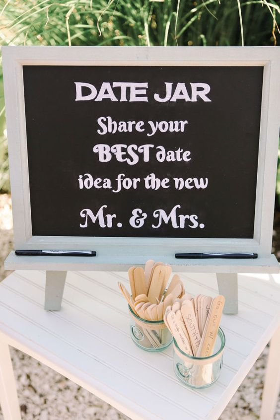 Date jar wedding idea: http://www.stylemepretty.com/new-jersey-weddings/2016/01/11/glamorous-private-estate-beach-wedding/ | Photography: Kay English - http://www.kayenglishphotography.com/:
