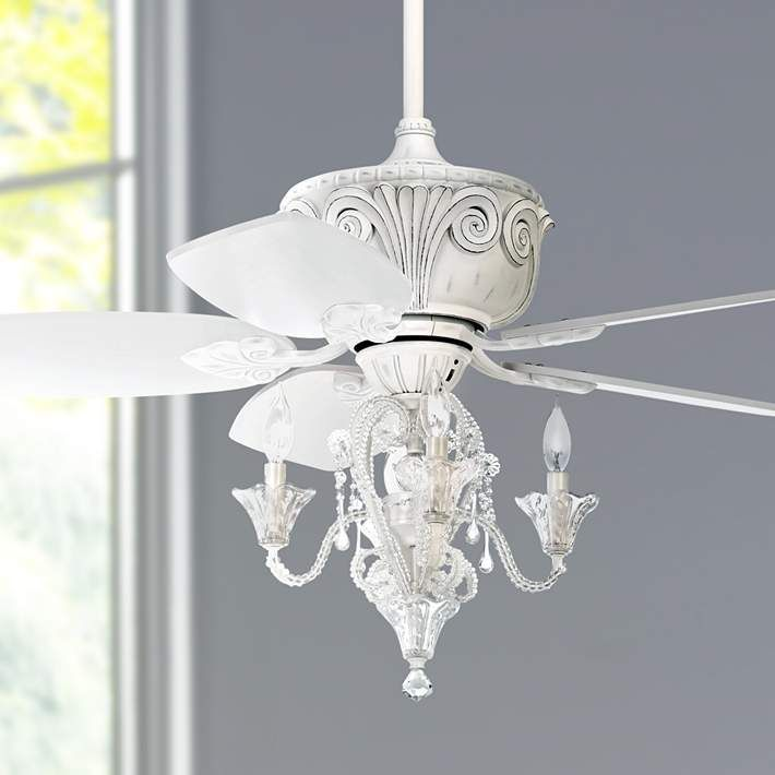 "44"" Casa Deville Antique White Ceiling Fan with Light - #87534-45955-01464 