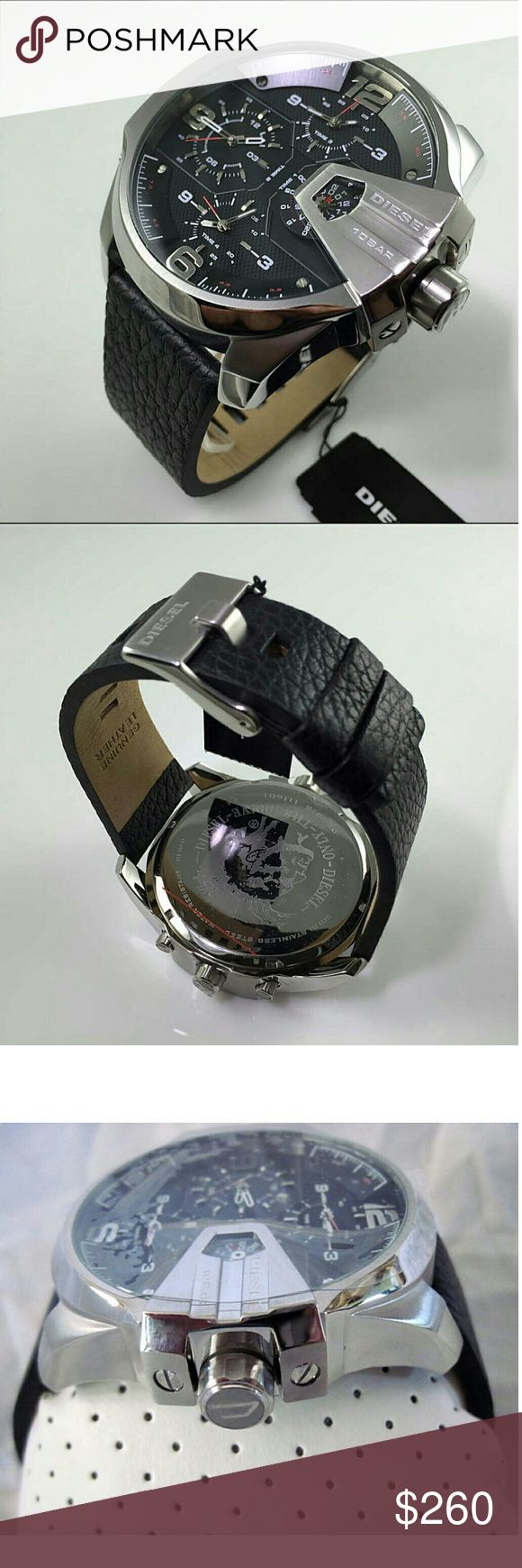 NWT Diesel men's oversized watch Brand new with tag Diesel Uber Oversized 4 Time Zone Men's ?Watch.?    Firm price firm price firm price?  $260.00  . AUTHENTIC WATCH?  . AUTHENTIC BOX?  . AUTHENTIC MANUAL?    SHIPPING?  PLEASE ALLOW 3-4 BUSINESS DAYS FOR ME TO SHIPPED IT OFF.I HAVE TO GET IT FROM MY STORE.   THANK YOU FOR YOUR UNDERSTANDING diesel Accessories Watches