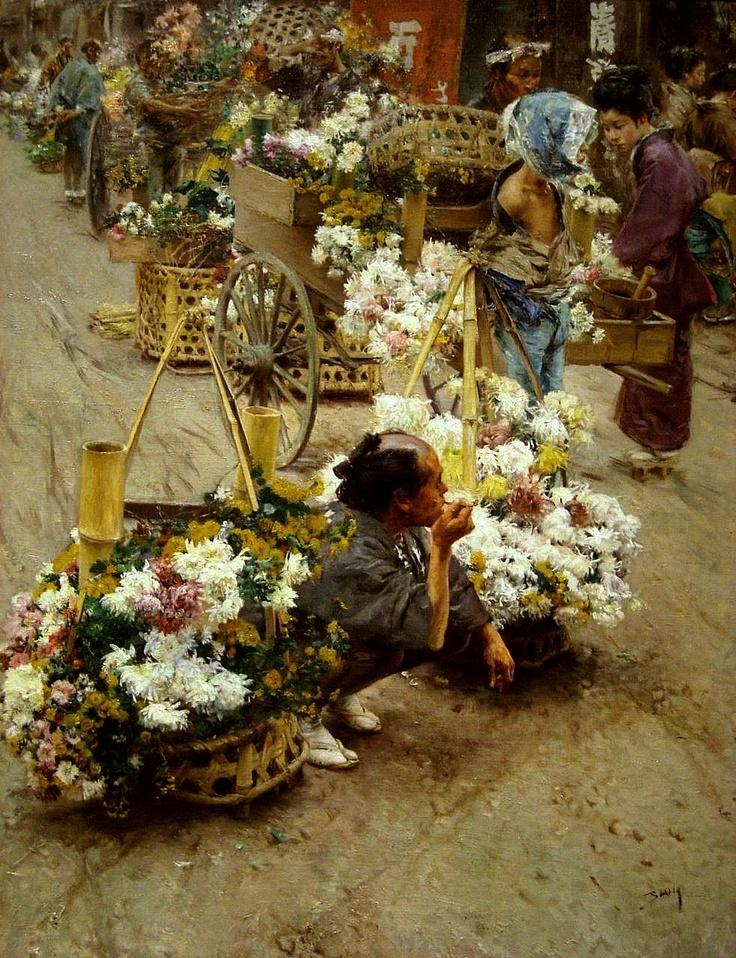 Robert Frederick Blum (American, 1857 – 1903) - Flower Market, Tokyo (circa 1892)