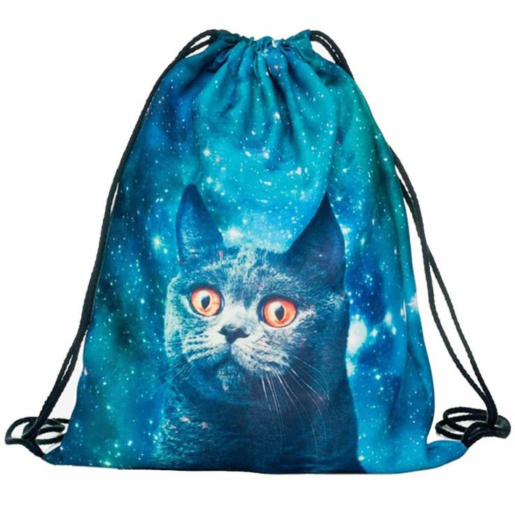 3D Cat Print DrawString Bag //Price: $9.00 & FREE Shipping //     #hashtag4